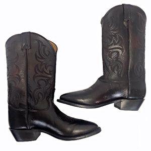 Tony Lama Black Cherry Calf Cowboy Boots